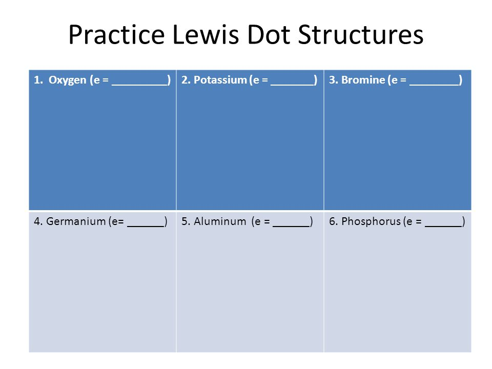 Practice Lewis Dot Structures