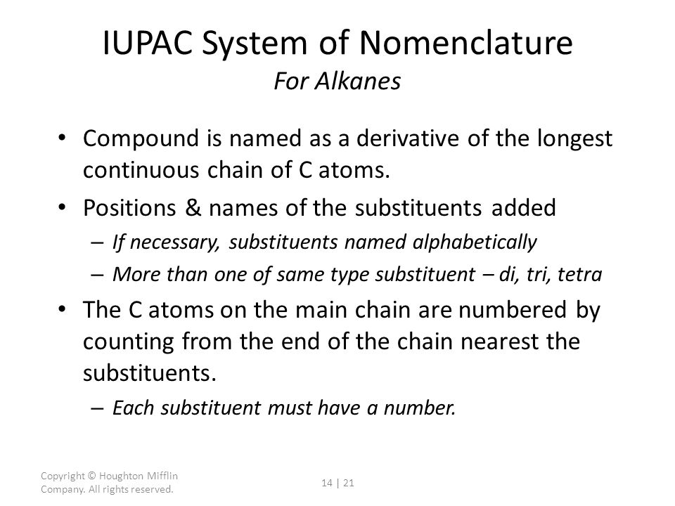 IUPAC System of Nomenclature For Alkanes