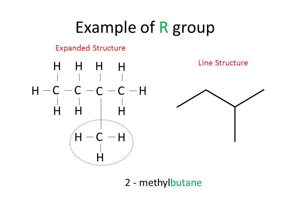 Example of R group C H 2 - methylbutane Expanded Structure
