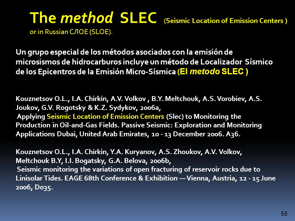 The method SLEC (Seismic Location of Emission Centers )