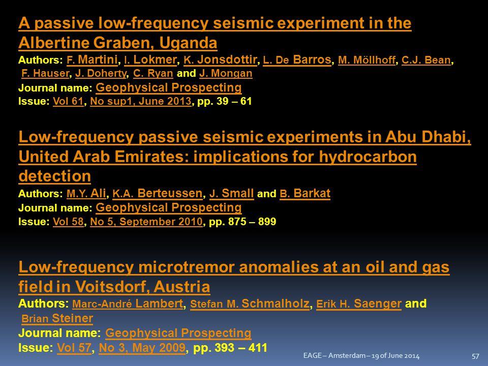 A passive low-frequency seismic experiment in the Albertine Graben, Uganda Authors: F. Martini, I. Lokmer, K. Jonsdottir, L. De Barros, M. Möllhoff, C.J. Bean,