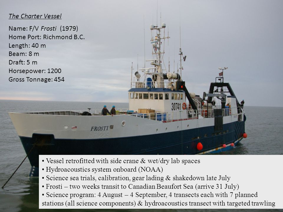 Vessel retrofitted with side crane & wet/dry lab spaces
