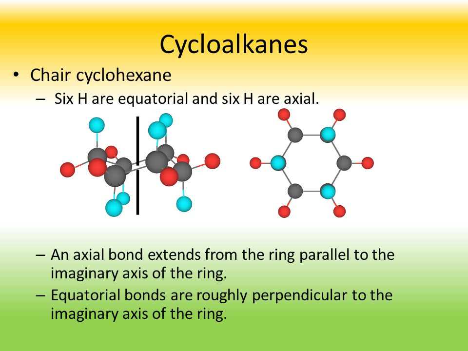 Cycloalkanes Chair cyclohexane