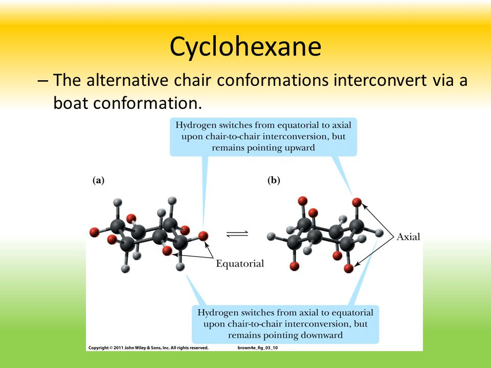 Cyclohexane The alternative chair conformations interconvert via a boat conformation.
