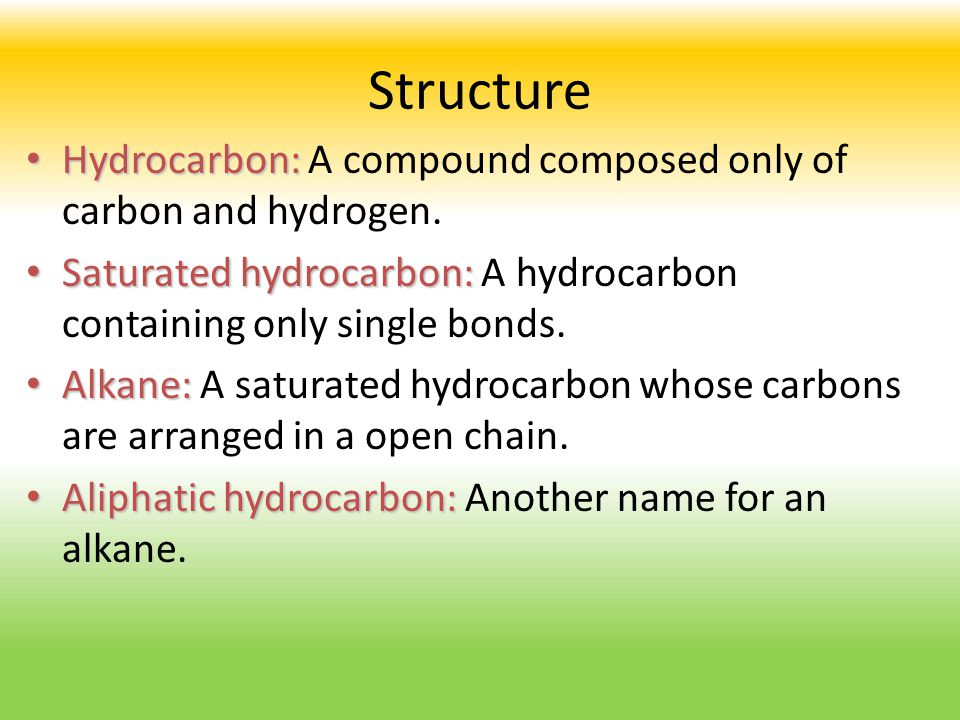 Structure Hydrocarbon: A compound composed only of carbon and hydrogen. Saturated hydrocarbon: A hydrocarbon containing only single bonds.