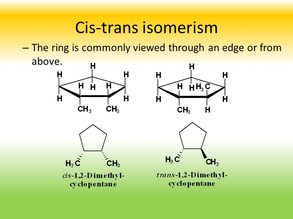 Cis-trans isomerism The ring is commonly viewed through an edge or from above.