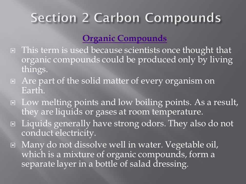 Section 2 Carbon Compounds
