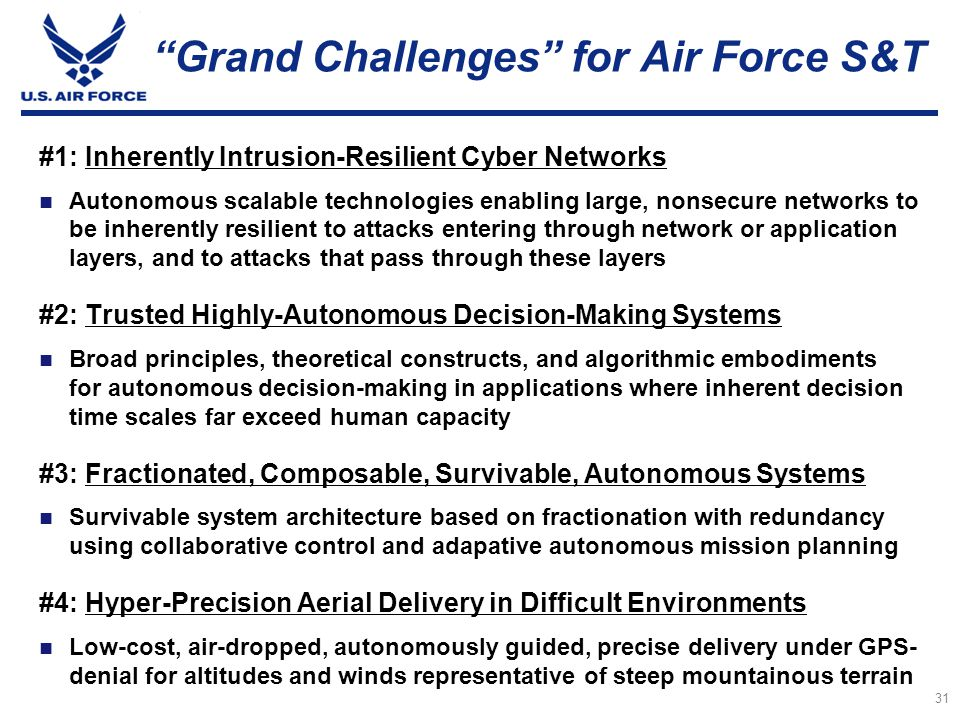 Grand Challenges for Air Force S&T
