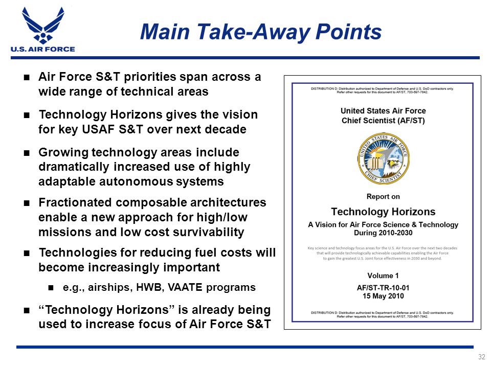 Main Take-Away Points Air Force S&T priorities span across a wide range of technical areas.