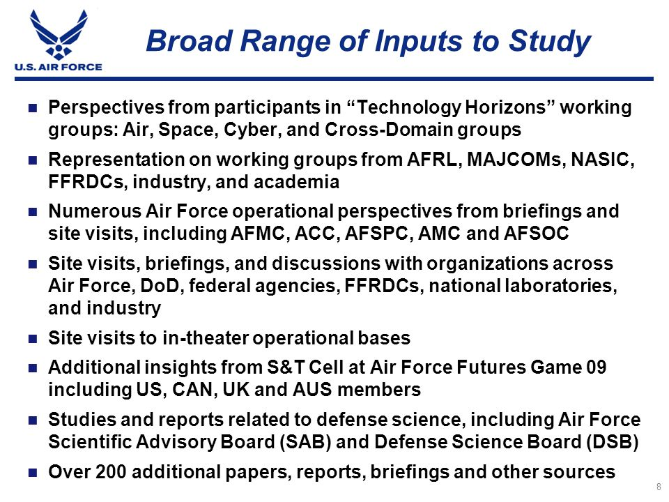 Broad Range of Inputs to Study