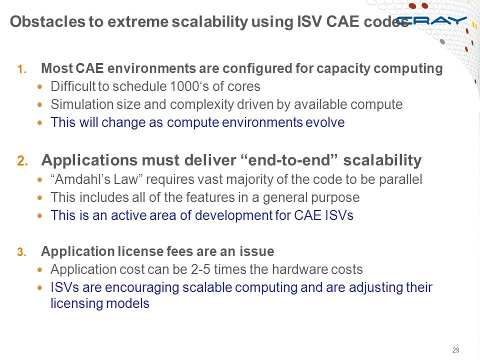 Obstacles to extreme scalability using ISV CAE codes