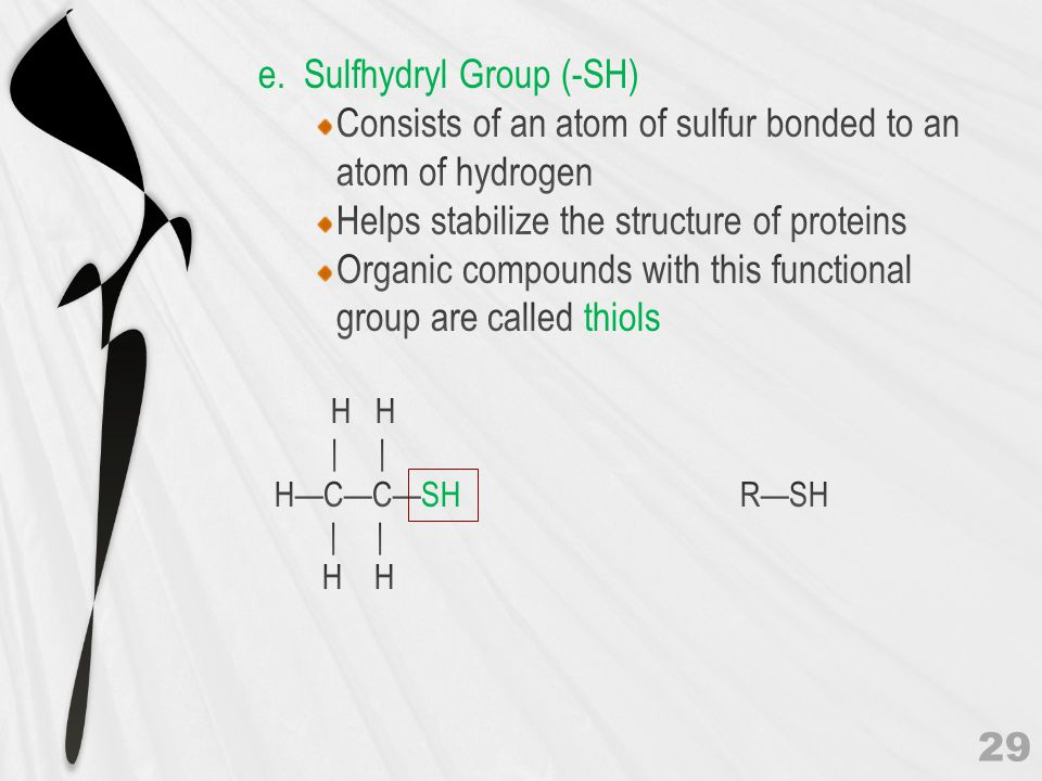 Consists of an atom of sulfur bonded to an atom of hydrogen