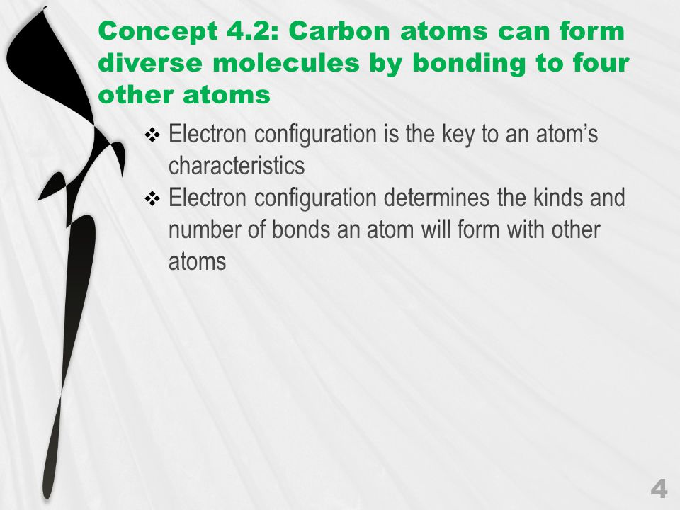 Concept 4.2: Carbon atoms can form diverse molecules by bonding to four other atoms