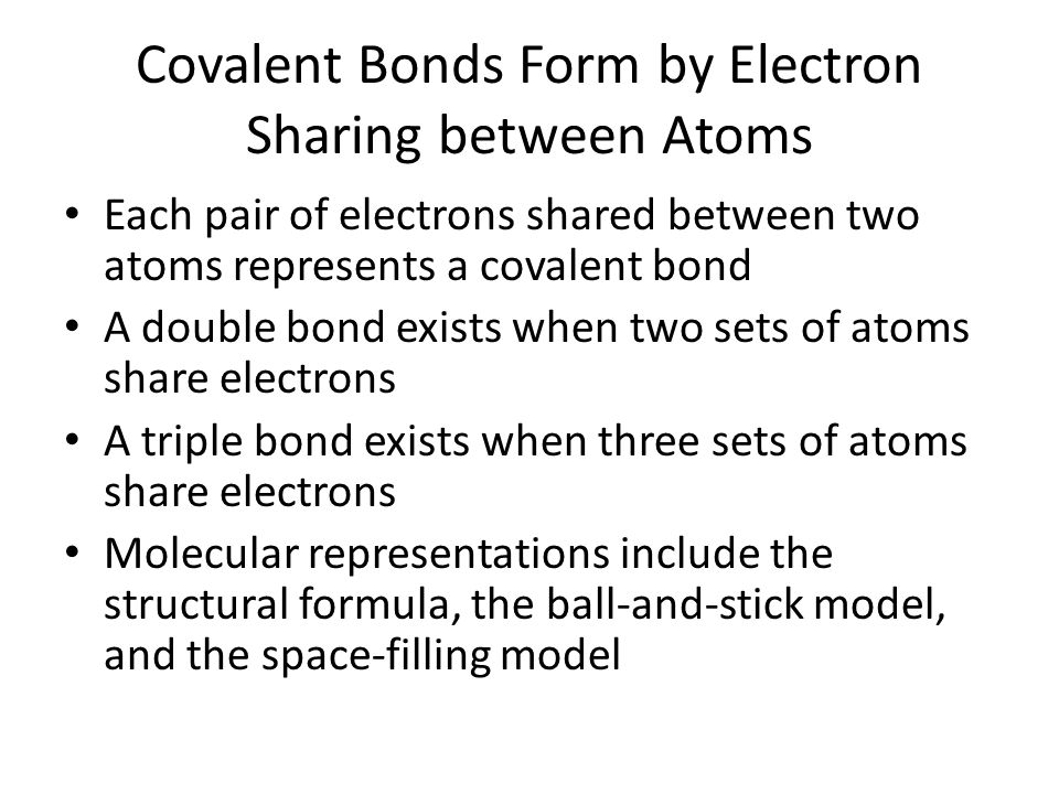 Covalent Bonds Form by Electron Sharing between Atoms