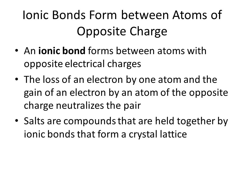 Ionic Bonds Form between Atoms of Opposite Charge