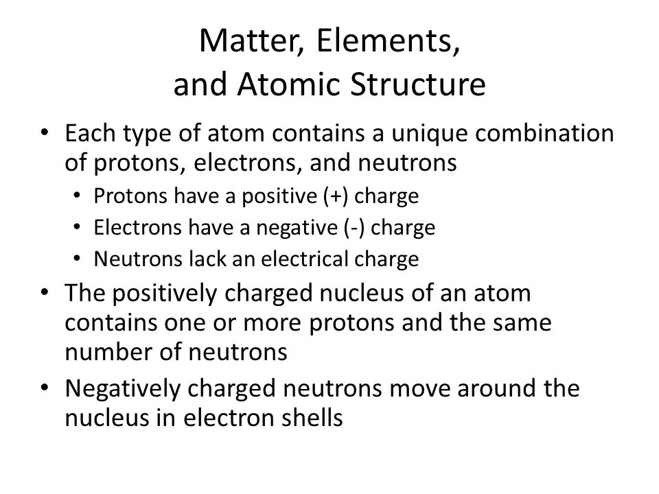 Matter, Elements, and Atomic Structure