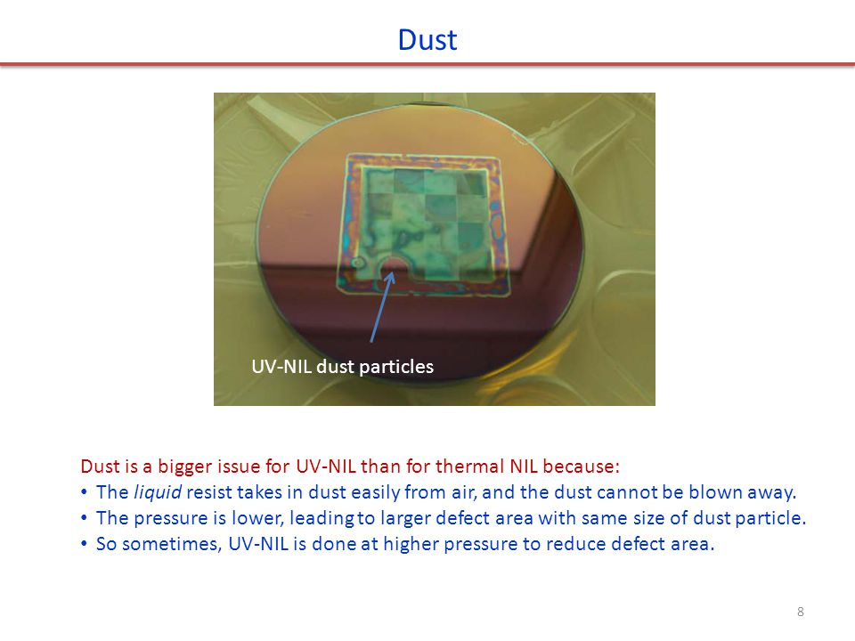 Dust UV-NIL dust particles