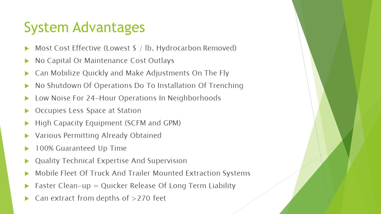 System Advantages Most Cost Effective (Lowest $ / lb. Hydrocarbon Removed) No Capital Or Maintenance Cost Outlays.
