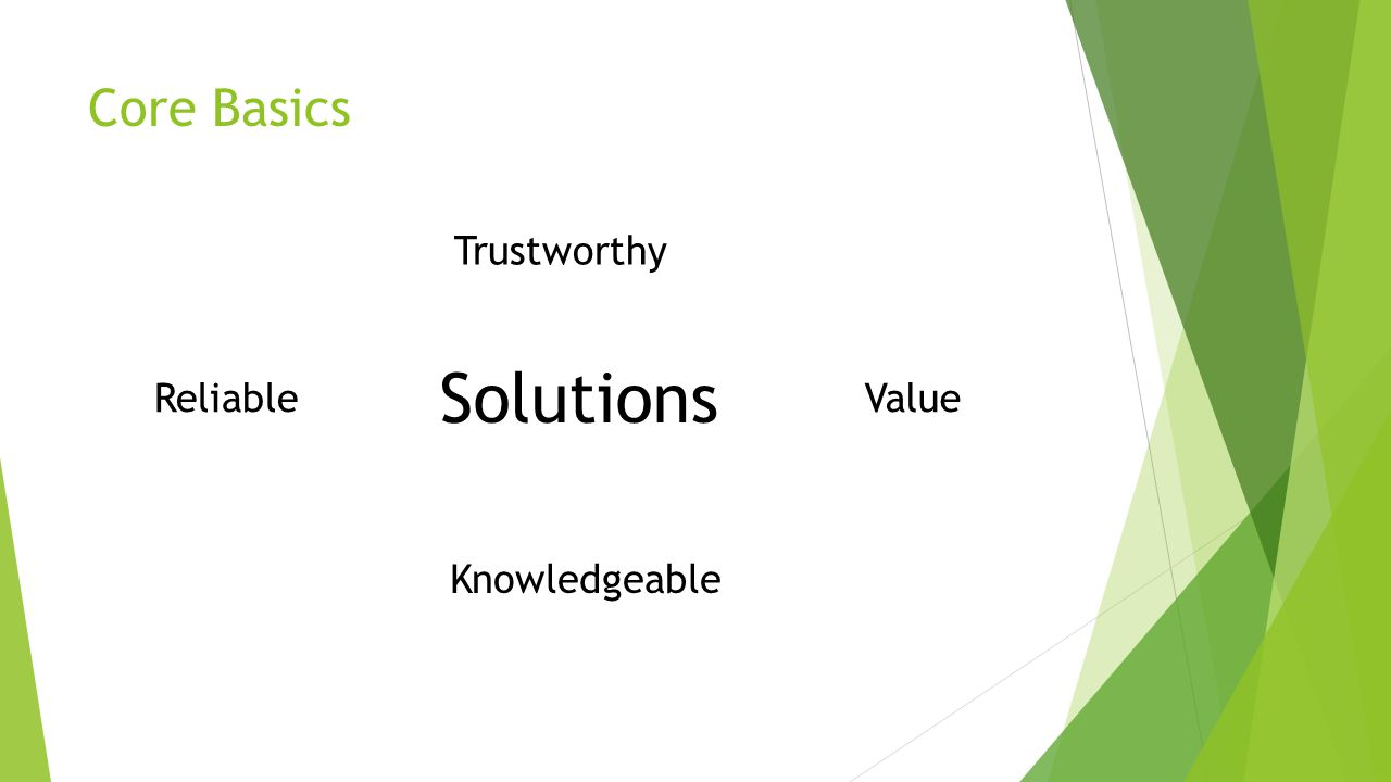 Solutions Core Basics Trustworthy Reliable Value Knowledgeable