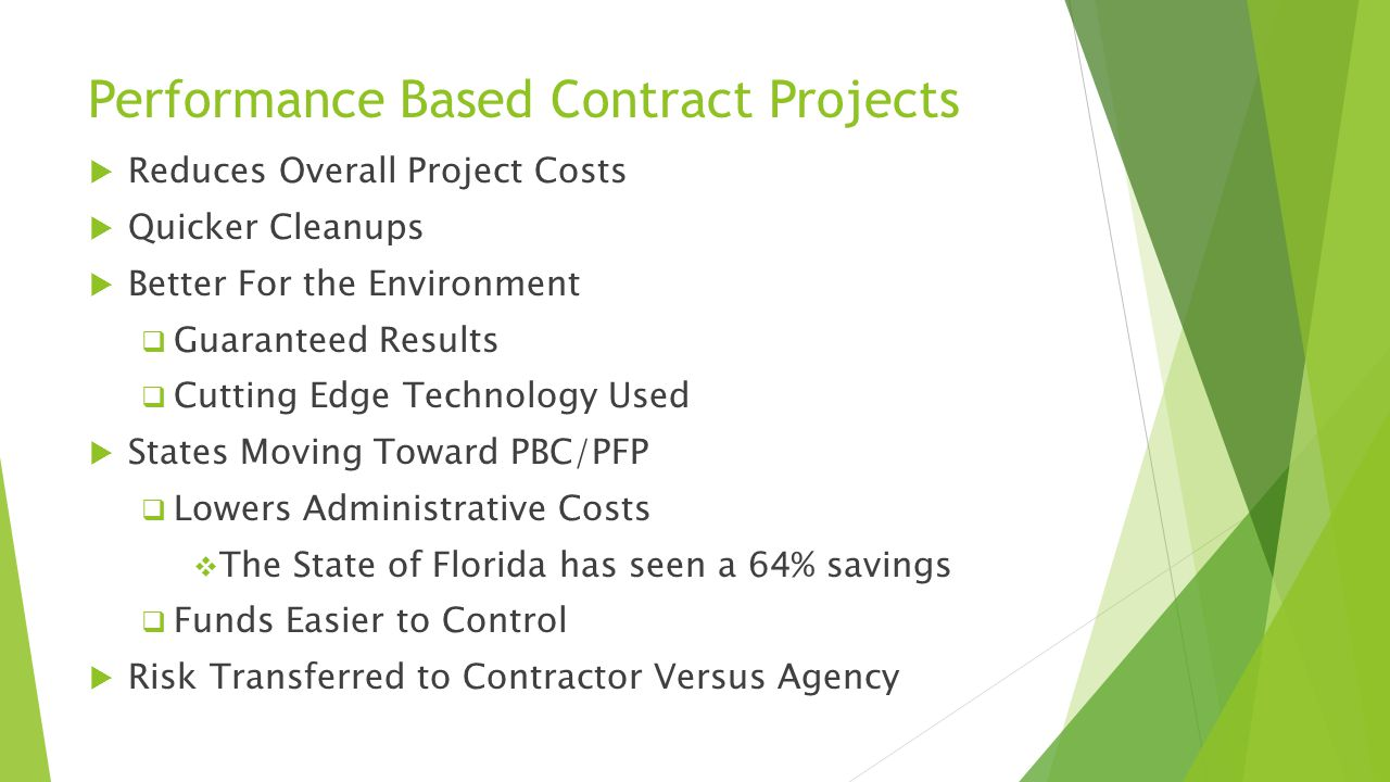 Performance Based Contract Projects