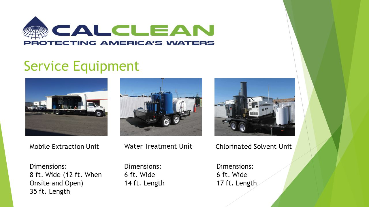 Service Equipment Mobile Extraction Unit Water Treatment Unit