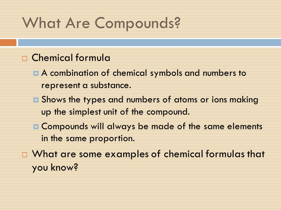 What Are Compounds Chemical formula