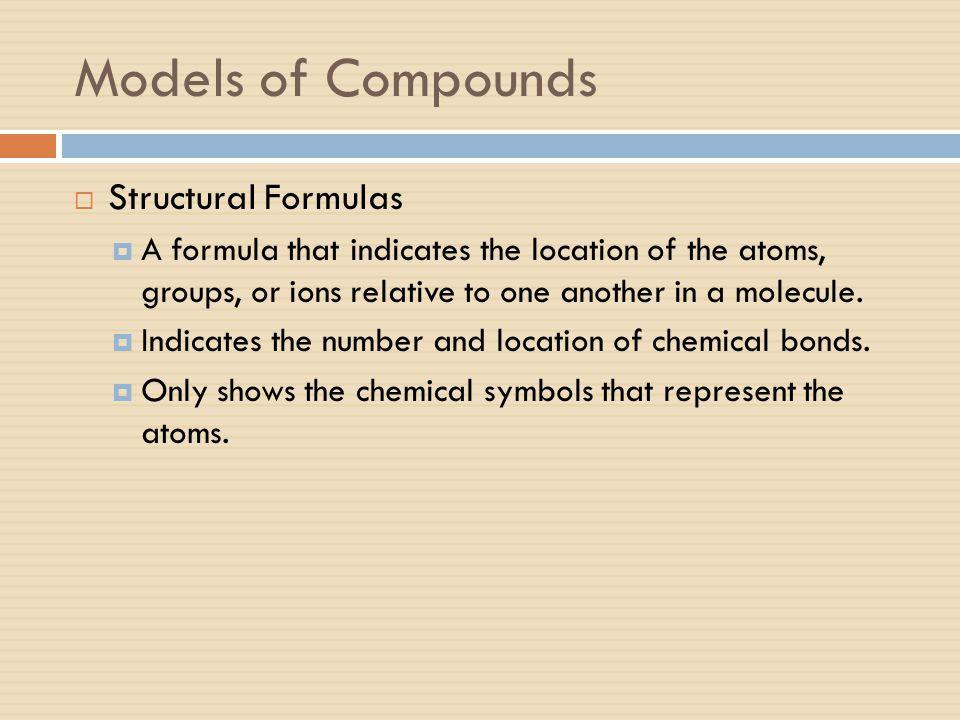Models of Compounds Structural Formulas