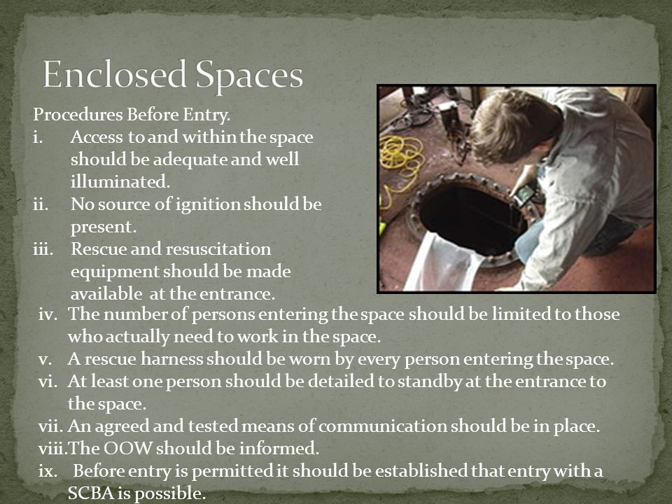 Enclosed Spaces Procedures Before Entry.