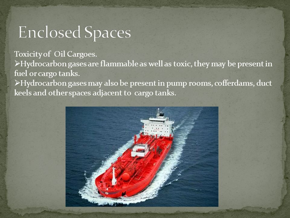 Enclosed Spaces Toxicity of Oil Cargoes.