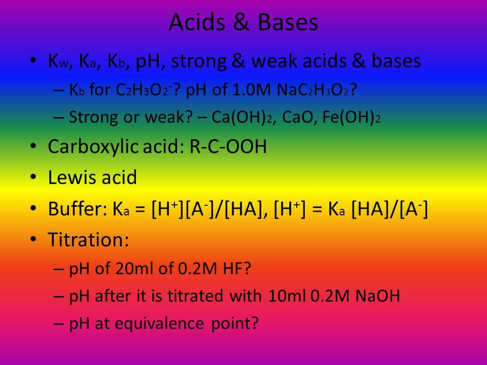Acids & Bases Kw, Ka, Kb, pH, strong & weak acids & bases