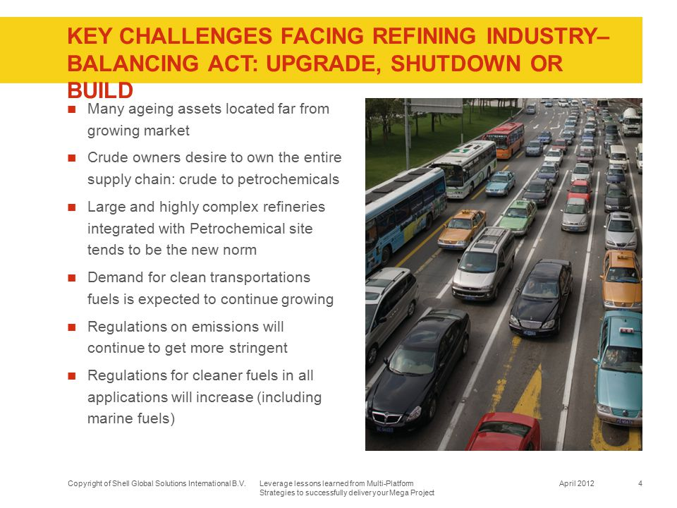 KEY CHALLENGES FACING Refining industry– balancing act: upgrade, shutdown or build
