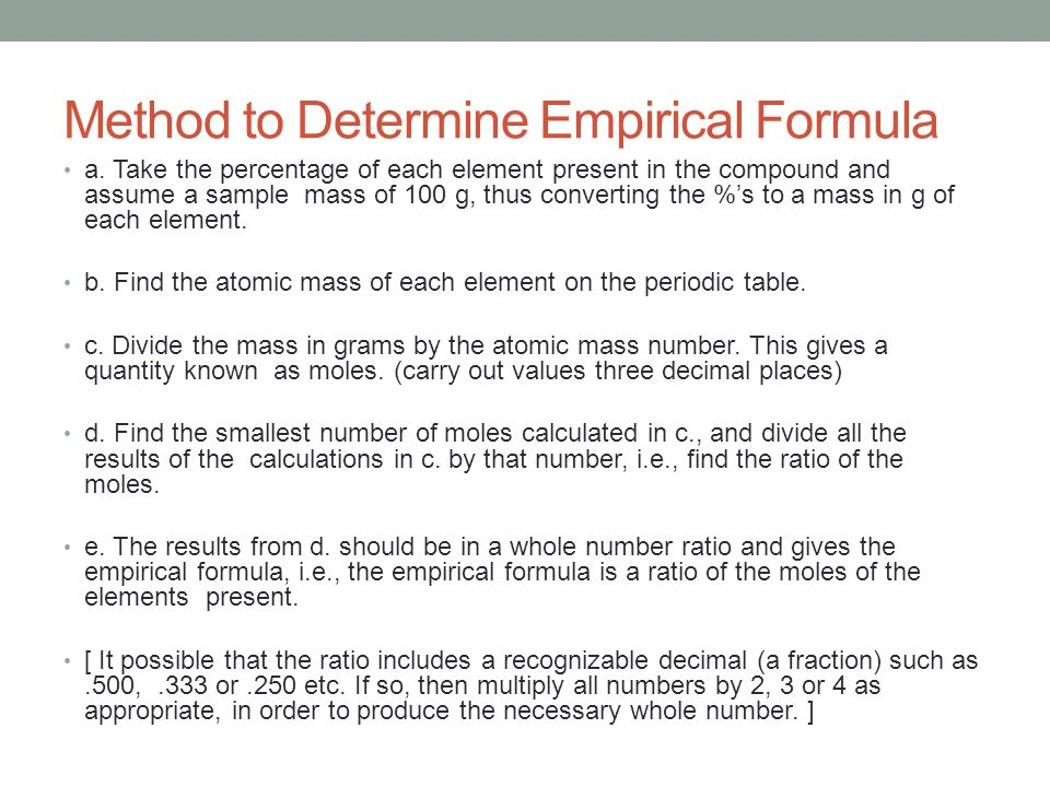 Method to Determine Empirical Formula