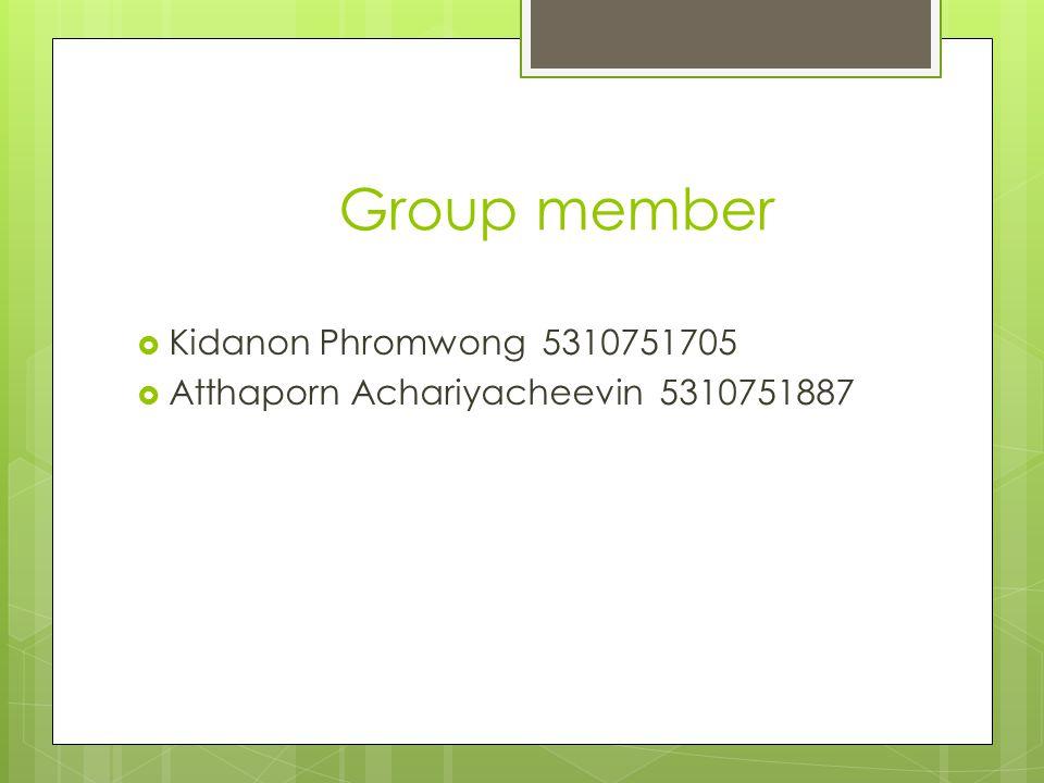 Group member Kidanon Phromwong 5310751705