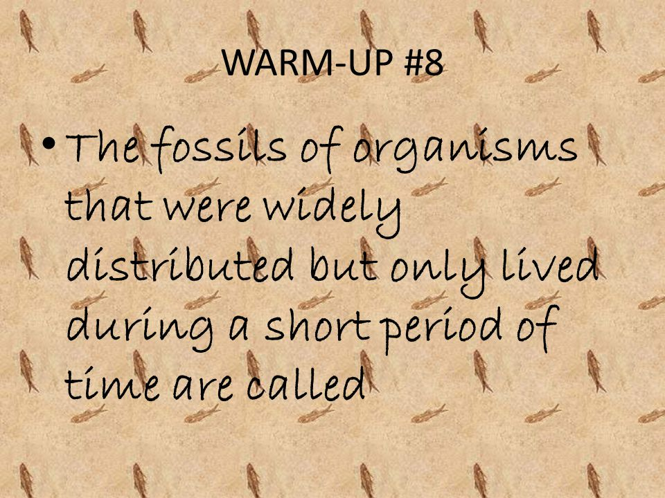 WARM-UP #8 The fossils of organisms that were widely distributed but only lived during a short period of time are called.