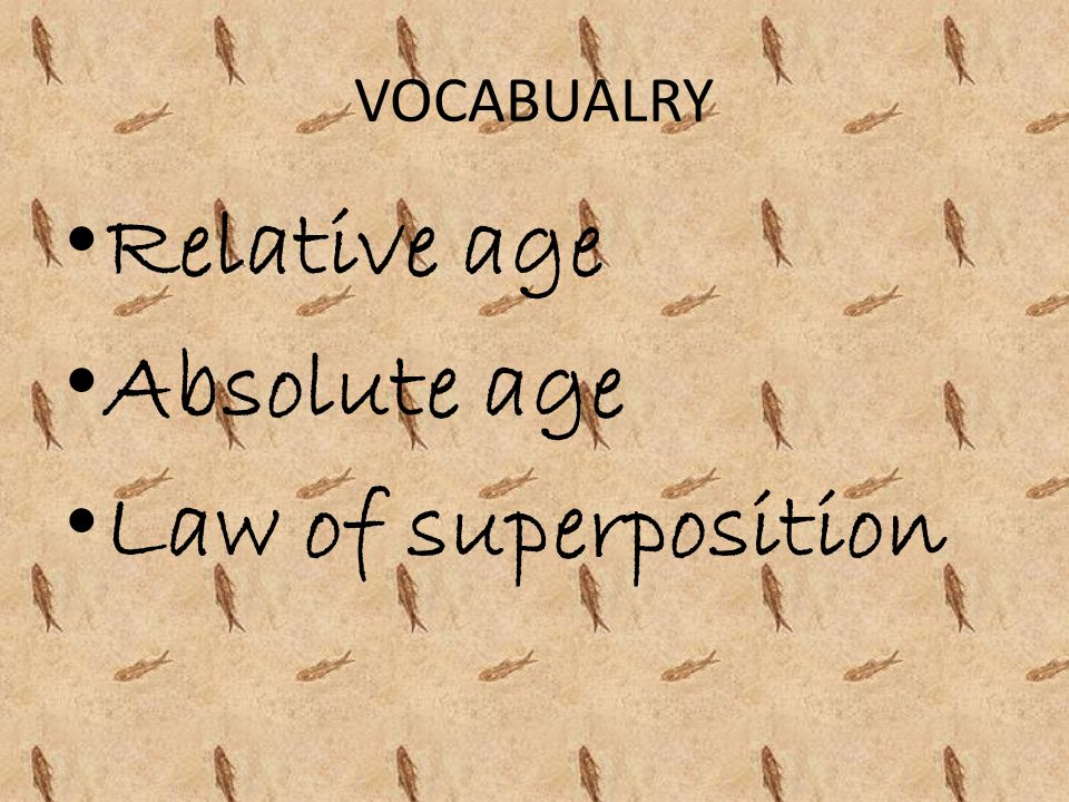 VOCABUALRY Relative age Absolute age Law of superposition