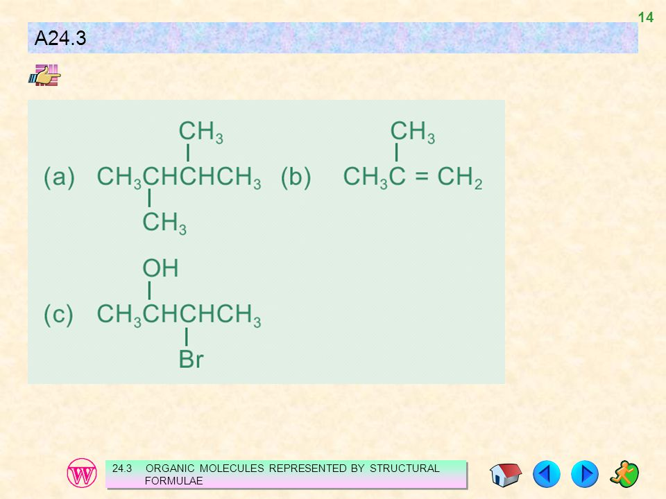 A24.3 24.3 ORGANIC MOLECULES REPRESENTED BY STRUCTURAL FORMULAE