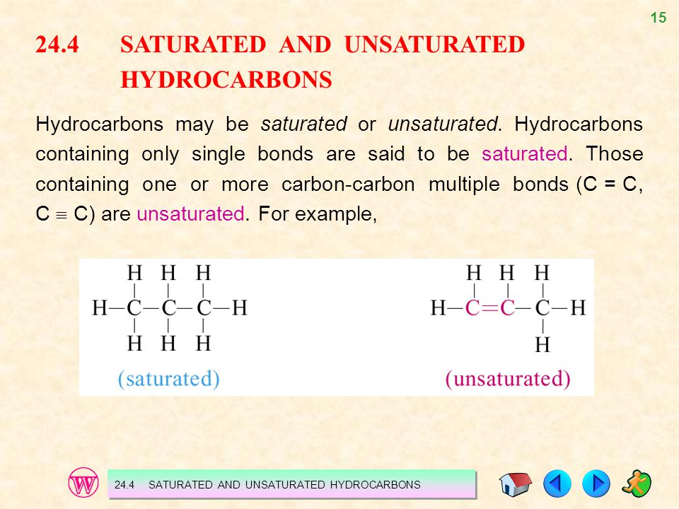 24.4 SATURATED AND UNSATURATED HYDROCARBONS