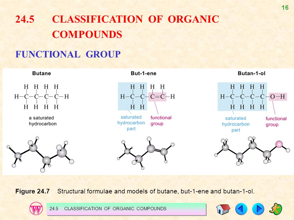 24.5 CLASSIFICATION OF ORGANIC COMPOUNDS