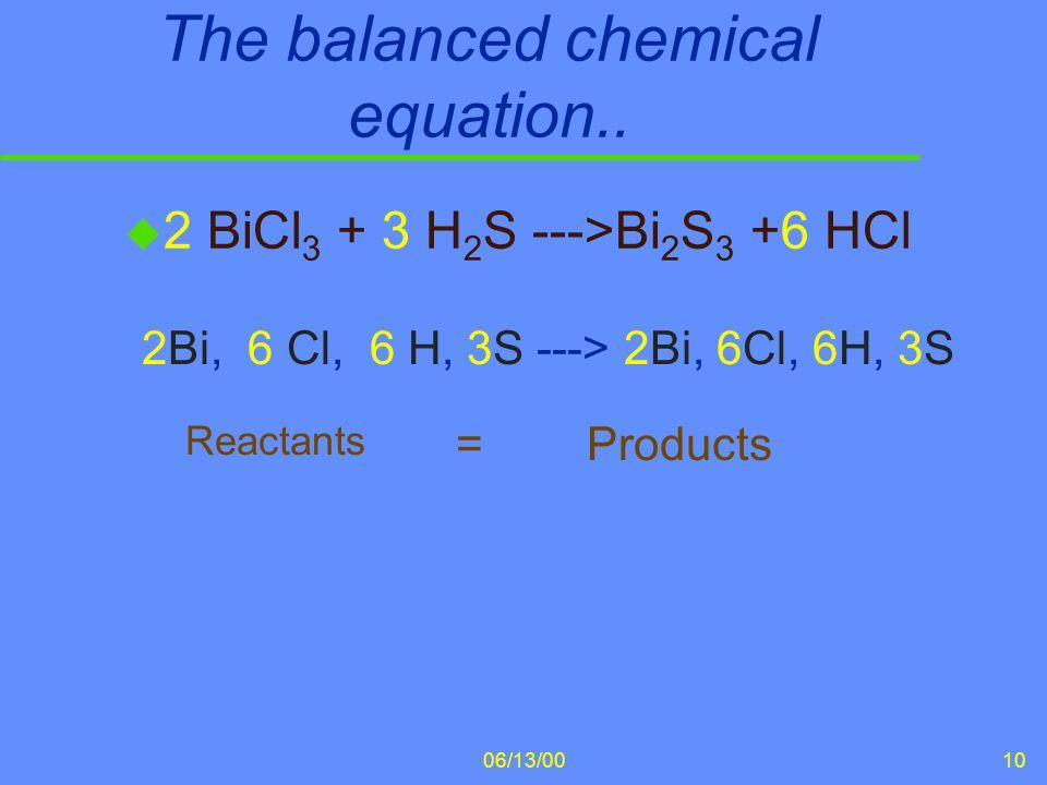 The balanced chemical equation..