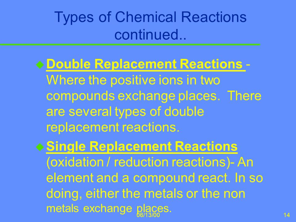 Types of Chemical Reactions continued..