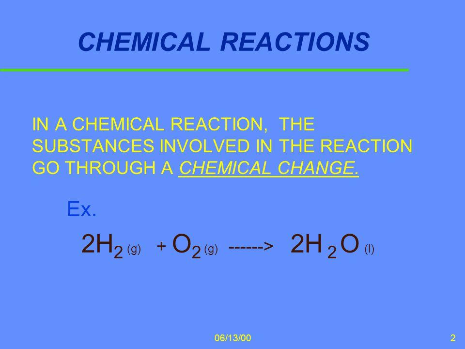 Ex. 2H2 (g) + O2 (g) ------> 2H 2 O (l)