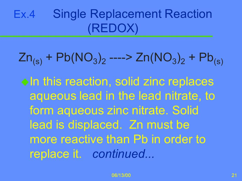 Ex.4 Single Replacement Reaction (REDOX)