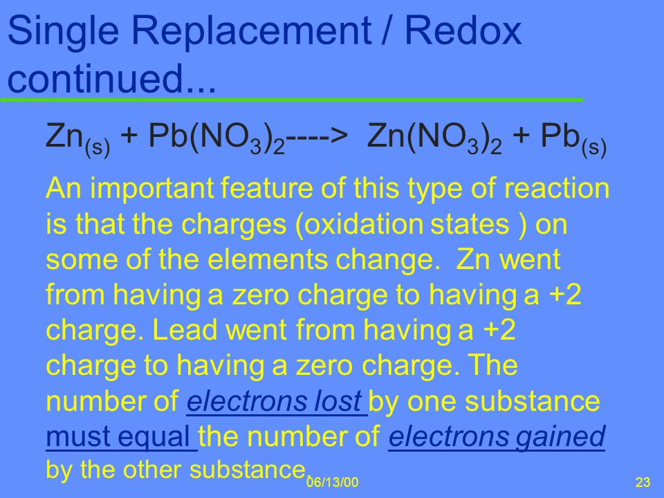 Single Replacement / Redox continued...
