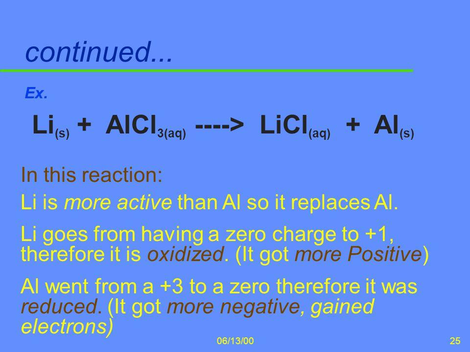 continued... Li(s) + AlCl3(aq) ----> LiCl(aq) + Al(s)