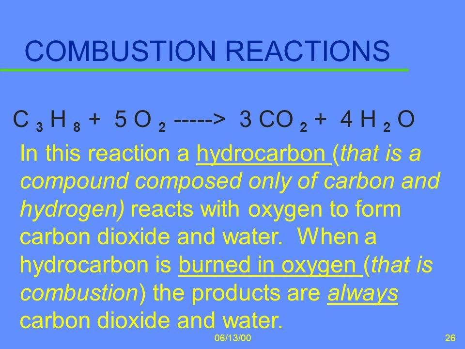 COMBUSTION REACTIONS C 3 H 8 + 5 O 2 -----> 3 CO 2 + 4 H 2 O