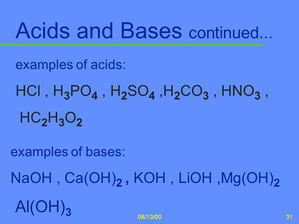 Acids and Bases continued...