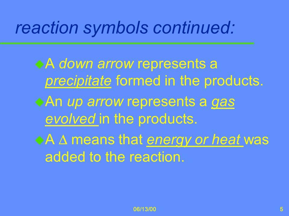 reaction symbols continued: