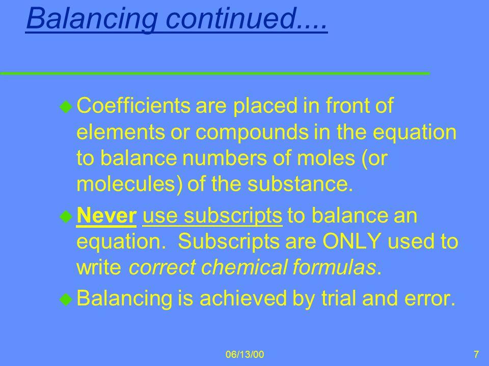 Balancing continued....