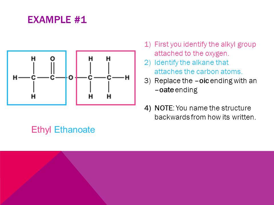 EXAMPLE #1 Ethyl Ethanoate