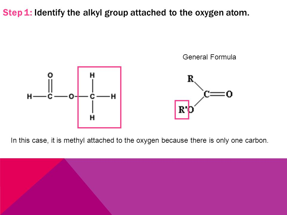 Step 1: Identify the alkyl group attached to the oxygen atom.